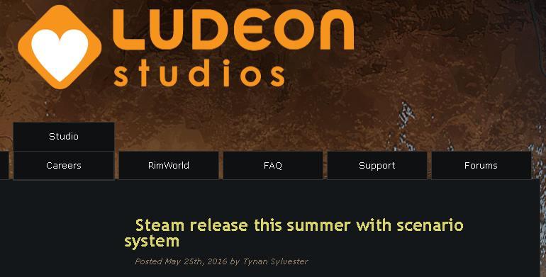 Релиз Rimworld на платформе Steam этим летом !